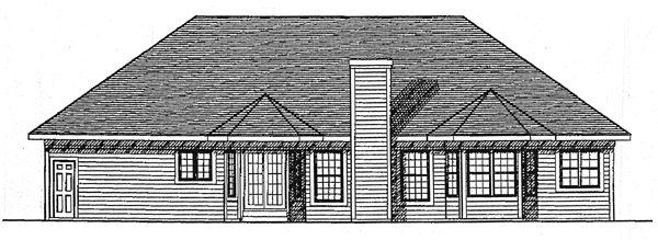 European House Plan 99115 with 3 Beds, 3 Baths, 3 Car Garage Rear Elevation