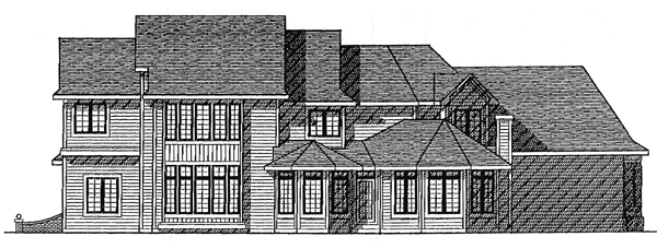 European Plan with 3511 Sq. Ft., 4 Bedrooms, 4 Bathrooms, 3 Car Garage Rear Elevation