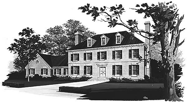 Colonial House Plan 99203 with 3 Beds, 3 Baths, 2 Car Garage Elevation