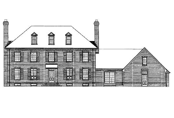 Colonial House Plan 99203 with 3 Beds, 3 Baths, 2 Car Garage Rear Elevation