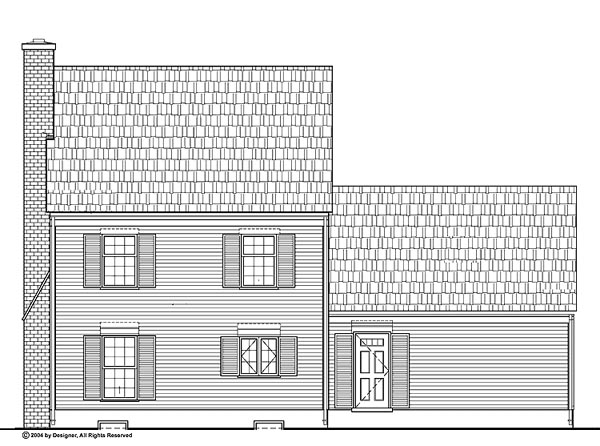Colonial House Plan 99255 with 3 Beds, 3 Baths, 2 Car Garage Rear Elevation