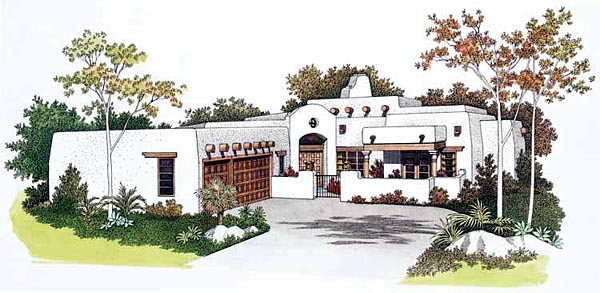 Santa Fe, Southwest House Plan 99276 with 4 Beds, 3 Baths, 3 Car Garage Front Elevation