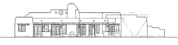 Santa Fe, Southwest House Plan 99276 with 4 Beds, 3 Baths, 3 Car Garage Rear Elevation