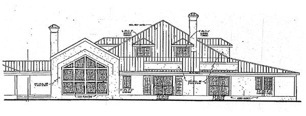 Prairie, Southwest House Plan 99278 with 6 Beds, 5 Baths, 3 Car Garage Rear Elevation