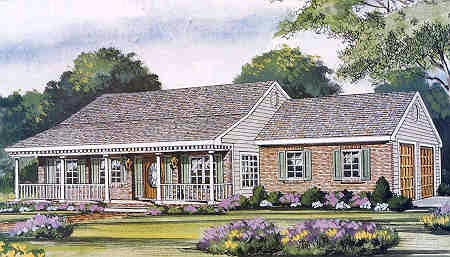 Country, Farmhouse, One-Story, Traditional House Plan 99686 with 3 Beds, 2 Baths, 2 Car Garage Elevation