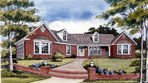 One-Story, Ranch, Traditional House Plan 99694 with 3 Beds, 3 Baths, 2 Car Garage Elevation