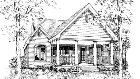 One-Story, Ranch, Traditional House Plan 99694 with 3 Beds, 3 Baths, 2 Car Garage Rear Elevation