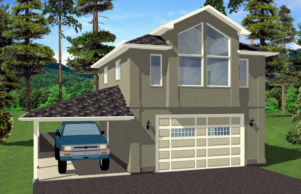 3 Car Garage Apartment Plan 99942 with 1 Beds, 1 Baths Elevation