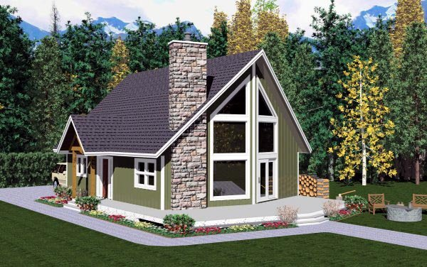 Contemporary House Plan 99946 with 2 Beds, 2 Baths Elevation