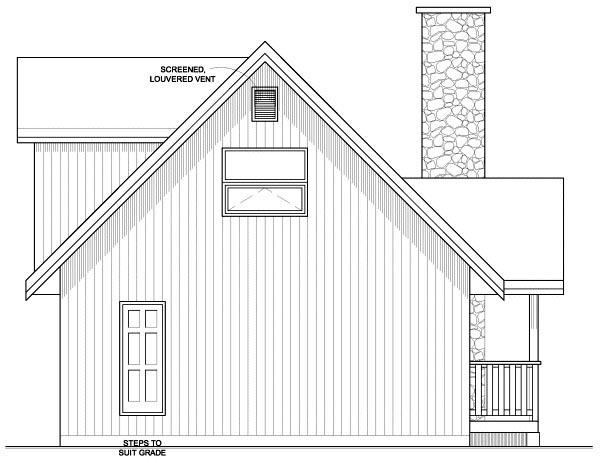 Contemporary House Plan 99946 with 2 Beds, 2 Baths Rear Elevation