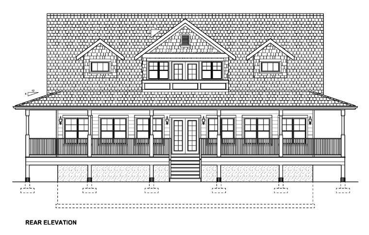 Country House Plan 99964 with 3 Beds, 4 Baths Rear Elevation