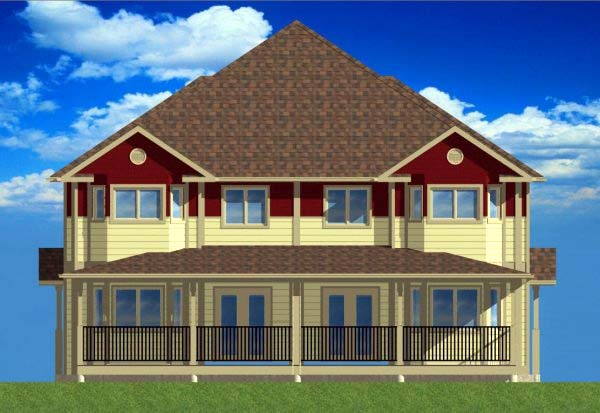 Multi-Family Plan 99966 with 12 Beds, 8 Baths Rear Elevation