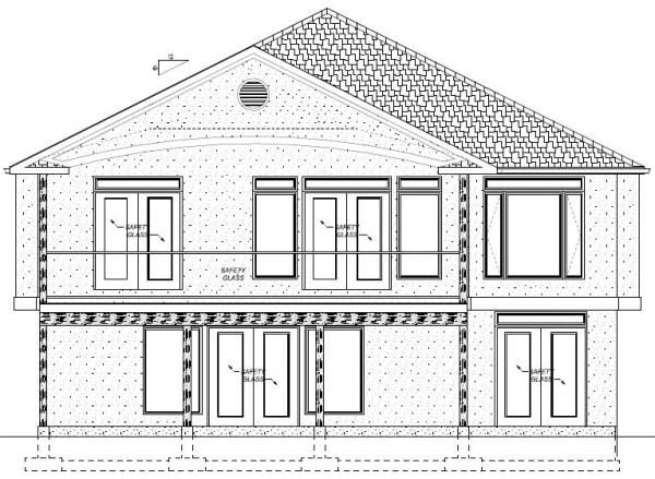 House Plan 99981 with 3 Beds, 4 Baths, 2 Car Garage Rear Elevation