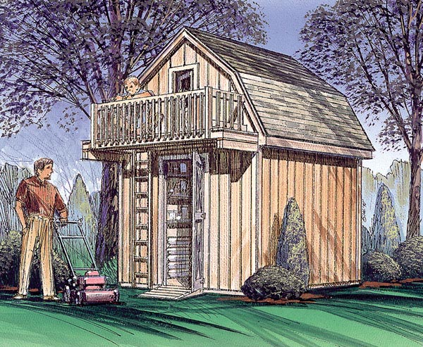 Storage Shed with Playhouse Loft  - Project Plan 85915