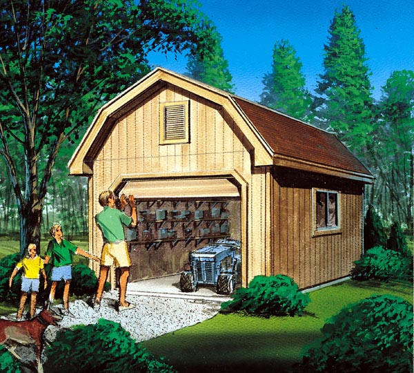 Barn Storage Shed with Overhead Door