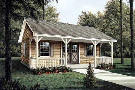 Workroom with Covered Porch - Project Plan 85951