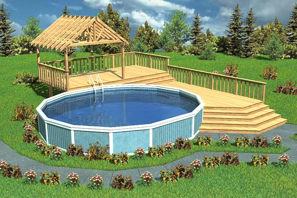 90005 - Luxury Split-Level Pool Deck With Trellis