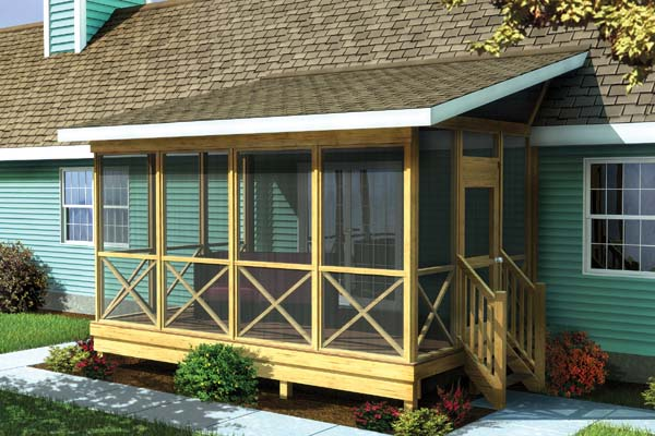 Screened Porch w/ Shed Roof - Project Plan 90012